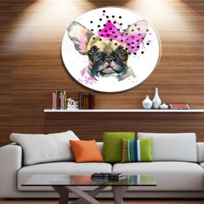 Designart Fashionable French Bulldog Ultra GlossyAnimal Oversized Metal Circle Wall Art
