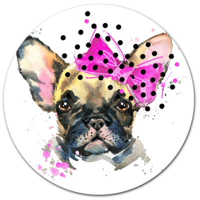 Designart Fashionable French Bulldog Ultra GlossyAnimal Oversized Metal Circle Wall Art