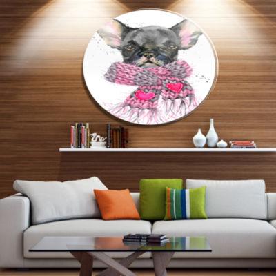 Designart Cute Puppy Dog with Pink Shawl Ultra Glossy Animal Oversized Metal Circle Wall Art
