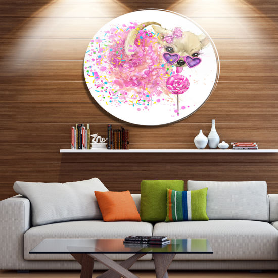 Designart Sweet Pink Dog with Glasses Ultra GlossyAnimal Oversized Metal Circle Wall Art