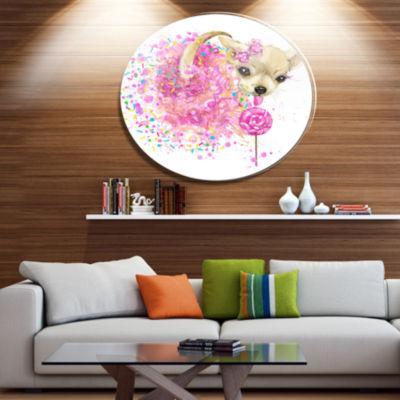 Designart Sweet Pink Dog without Glasses Ultra Glossy Animal Oversized Metal Circle Wall Art