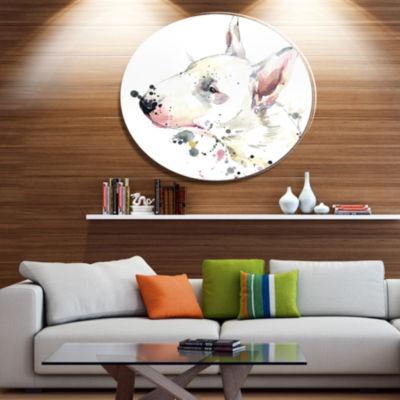 Designart Bull Terrier Dog Watercolor Ultra GlossyAnimal Oversized Metal Circle Wall Art