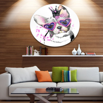 Designart Sweet Funny Dog with Glasses Ultra Glossy Animal Oversized Metal Circle Wall Art