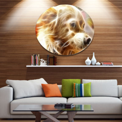 Designart Glowing Brown Dog Head Ultra Glossy Animal Oversized Metal Circle Wall Art