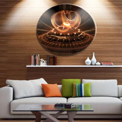 Designart Fractal Brown Dom Ultra Glossy OversizedAbstract Metal Art