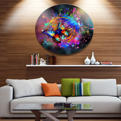 Designart Butterfly over Abstract Background UltraGlossy Abstract Oversized Metal Circle Wall Art
