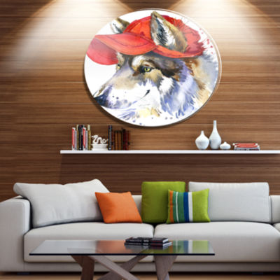 Designart Wolf with Red Cap Illustration Ultra Glossy Animal Oversized Metal Circle Wall Art