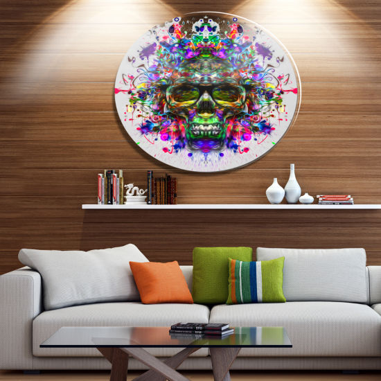 Designart Skull with Glasses and Paint Splashes Ultra Glossy Abstract Oversized Metal Circle Wall Art