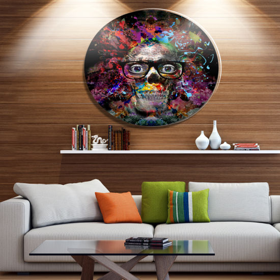 Designart Colorful Human Skull with Glasses UltraGlossy Abstract Oversized Metal Circle Wall Art
