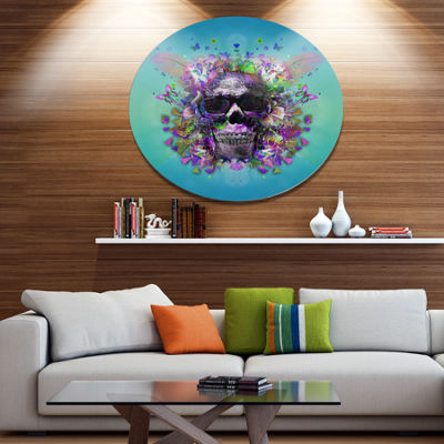Designart Skull with Glasses and Butterflies UltraGlossy Abstract Oversized Metal Circle Wall Art