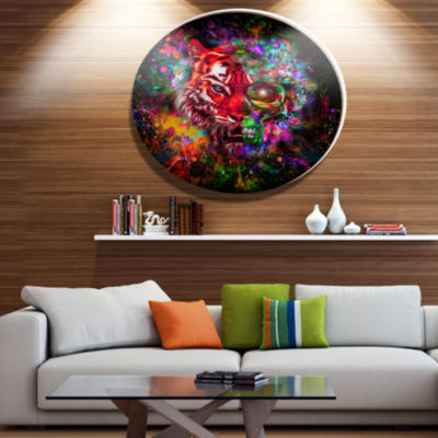 Designart Colorful Tiger Head with Half Skull Ultra Glossy Abstract Oversized Metal Circle Wall Art