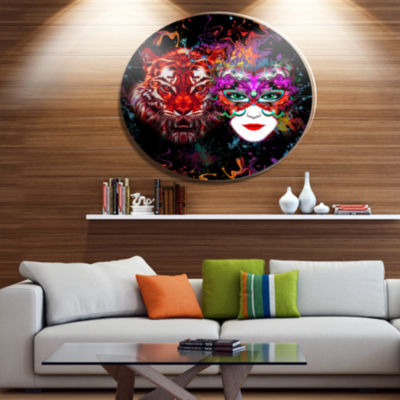Designart Tiger and Woman Colorful Faces Ultra Glossy Abstract Oversized Metal Circle Wall Art