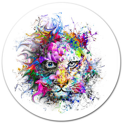 Designart Tiger Face in Colorful Splashes Ultra Glossy Abstract Oversized Metal Circle Wall Art