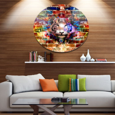 Designart Tiger over Abstract Brick Design Ultra Glossy Abstract Oversized Metal Circle Wall Art