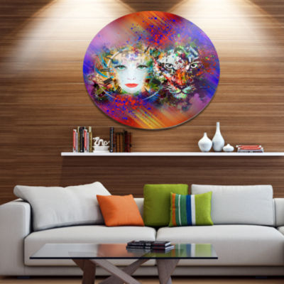 Designart Colorful Tiger and Woman Face Ultra Glossy Large Abstract Oversized Metal Circle Wall Art