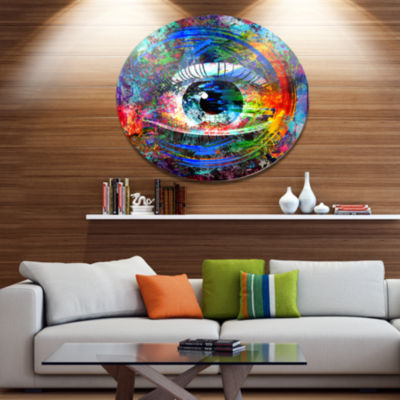 Designart Magic Eye over Abstract Design Ultra Glossy Large Abstract Oversized Metal Circle Wall Art