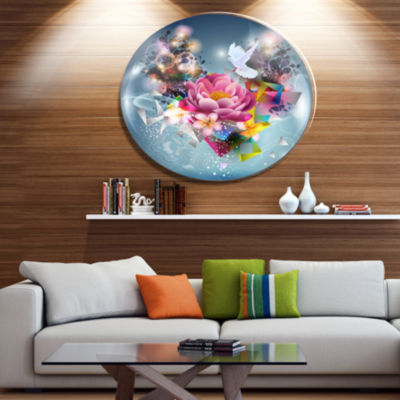Designart Flowers and Dove Abstract Design Ultra Glossy Floral Oversized Metal Circle Wall Art