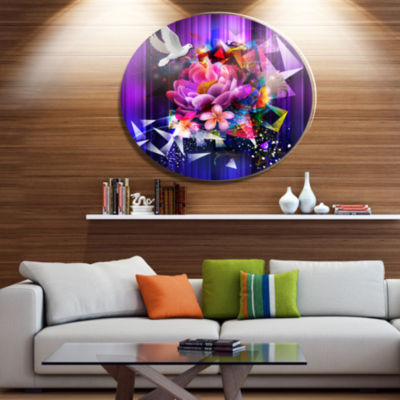 Designart Abstract Floral Design with Dove Ultra Glossy Floral Oversized Metal Circle Wall Art