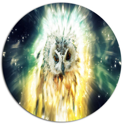 Designart Owl over Colorful Abstract Image Ultra Glossy Animal Oversized Metal Circle Wall Art