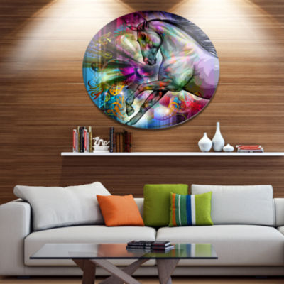 Designart Horse over Colorful Abstract Image UltraGlossy Animal Oversized Metal Circle Wall Art