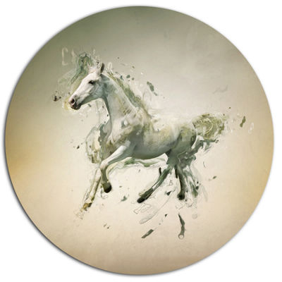 Designart White Horse in Motion on Brown Ultra Glossy Animal Oversized Metal Circle Wall Art