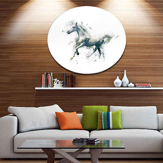 Designart White Horse in Motion on White Ultra Glossy Animal ...