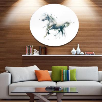 Designart White Horse in Motion on White Ultra Glossy Animal Oversized Metal Circle Wall Art