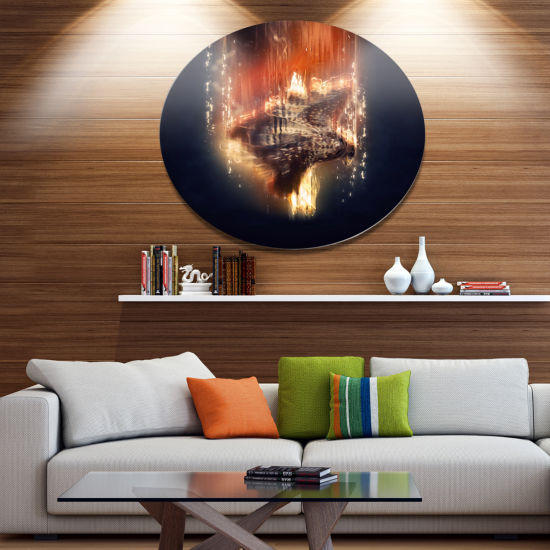 Designart Large Falcon in Flight Ultra Glossy Animal Oversized Metal Circle Wall Art
