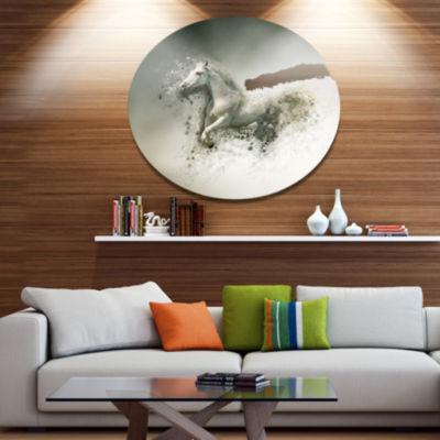 Designart Smart White Horse Running Ultra Glossy Animal Oversized Metal Circle Wall Art