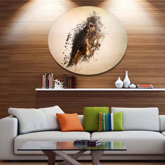 Designart Abstract Falcon in Flight Ultra Glossy Animal Oversized Metal Circle Wall Art