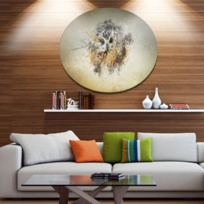 Designart Large Gracing Owl Ultra Glossy Animal Oversized Metal Circle Wall Art