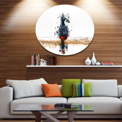 Designart Toucan on the Branch Ultra Glossy AnimalOversized Metal Circle Wall Art