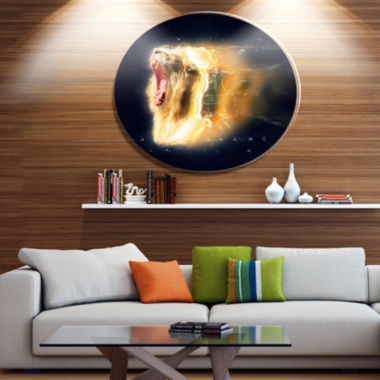Designart White Lion with Open Jaws Ultra Glossy Animal Oversized Metal Circle Wall Art