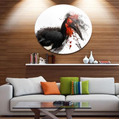 Designart Relaxing Large Exotic Bird Ultra GlossyAnimal Oversized Metal Circle Wall Art