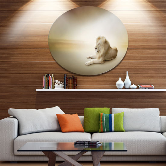Designart Relaxing King of Animals Ultra Glossy Animal Oversized Metal Circle Wall Art