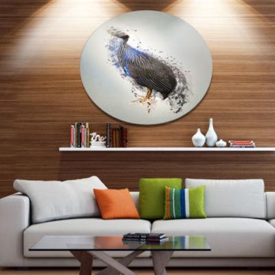 Designart Guinea Fowl Abstract Design Ultra GlossyAnimal Oversized Metal Circle Wall Art