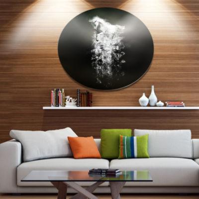 Designart Fantasy White Horse Running Ultra GlossyAnimal Oversized Metal Circle Wall Art