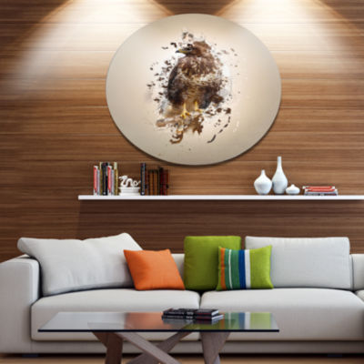 Designart Abstract Falcon on Branch Ultra Glossy Animal Oversized Metal Circle Wall Art