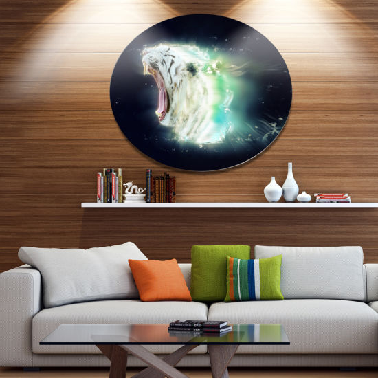 Designart White Tiger with Open Jaws Ultra GlossyAnimal Oversized Metal Circle Wall Art