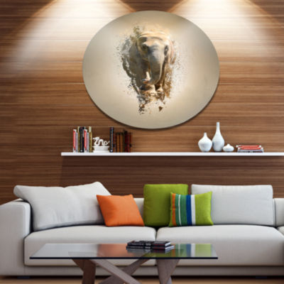 Designart Mammoth Elephant Walking Ultra Glossy Animal Oversized Metal Circle Wall Art