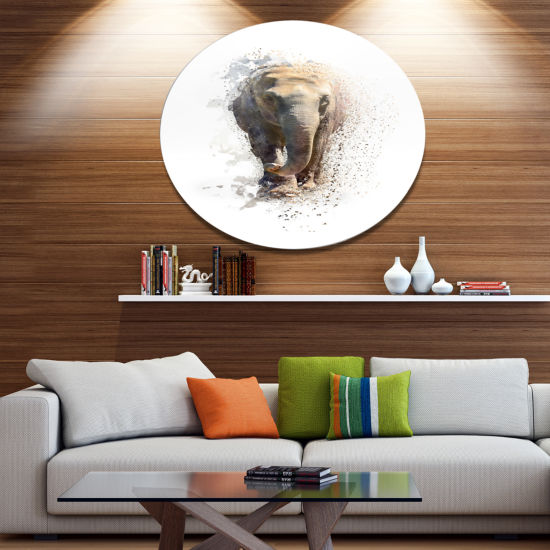 Designart Large Elephant Portrait Ultra Glossy Animal Oversized Metal Circle Wall Art