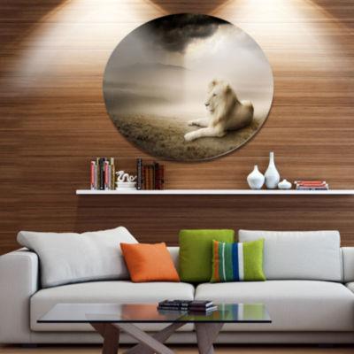 Designart King of Animals At Sunset Ultra Glossy Animal Oversized Metal Circle Wall Art