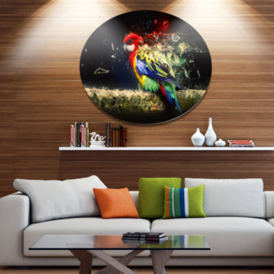 Designart Colorful Parrot on Branch Ultra Glossy Animal Oversized Metal Circle Wall Art