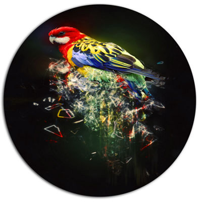 Designart Fantasy Parrot on Branch Ultra Glossy Animal Oversized Metal Circle Wall Art