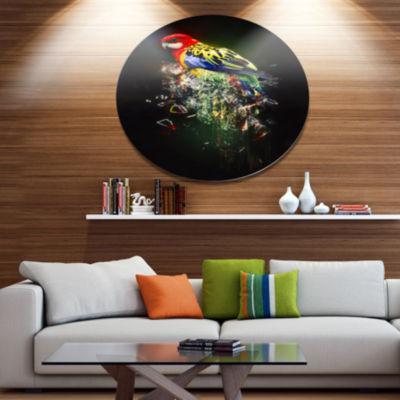 Designart Fantasy Parrot on Branch Ultra Glossy Animal Oversized Metal Circle Wall Art