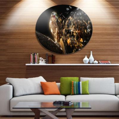 Designart Falcon with Open Beak Ultra Glossy Animal Oversized Metal Circle Wall Art