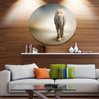 Designart Smart Elephant Walking Ultra Glossy Animal Oversized Metal Circle Wall Art