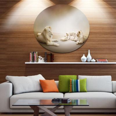 Designart White Lion Family Ultra Glossy Animal Oversized Metal Circle Wall Art