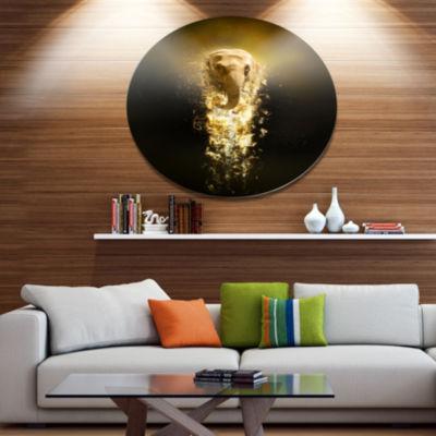 Designart Fantasy Elephant on Black Ultra Glossy Animal Oversized Metal Circle Wall Art