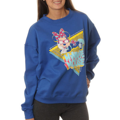 Minnie Mouse  Juniors' Lounging with Sunglasses Neon Crewneck Graphic Sweatshirt